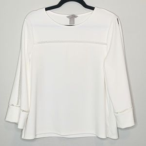 H&M Womens Bell Sleeve Blouse Cream size Large